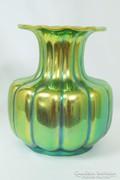 Zsolnay eozin mázas nagyméretű gerezdes váza