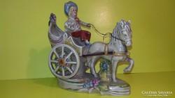 Antik Lippelsdorfi lovas hintó barokk porcelán