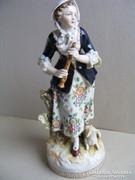 Antik korai 20.sz.-i Volkstedt Lány furulyával 20,5cm