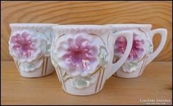 Virágos gyöngyház mázas mini csupor - 3 darab
