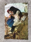 Hollósy Simon (1857-1918): TENGERIHÁNTÁS antik olajnyomat