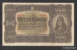 5000 korona 1923.  Magyar Pénzjegynyomda Rt.,  EF+!!