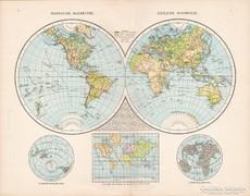 Világtérkép, Keleti és Nyugati félteke térkép 1881, német