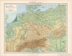 Németország hegy- és vízrajzi térkép 1881, német, eredeti