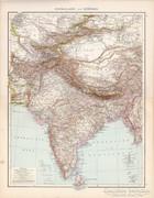 Közép - Ázsia és Kelet - India térkép 1881, német, eredeti