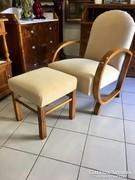 Art Deco fotel lábtartóval