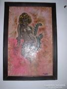 Akt kígyóval- Lehoczky József Olajfestménye, vászon, 92 x 58
