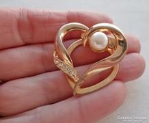 Meseszép régi aranyozott gyöngyös sálgyűrű
