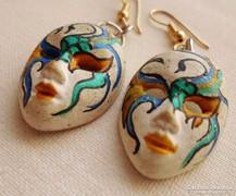 Ritka régi kerámia kézzel festett fülbevaló Velencéből