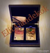 2 PAKLI 24 karátos arany póker kártya szett fa dobozban