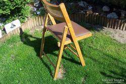 Összecsukható szék,fa,műbőr,retro