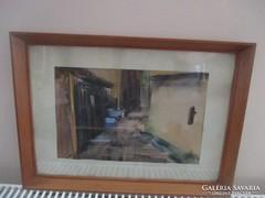 Utcarészlet.,akvarell kép. 27 x 18 cm