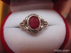 Mesés, filigrán antik ezüst rubin gyűrű 1,8 cm belül