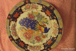 Dúsan aranyozott,kézzel kontúrfestett,pávás,kínai porcelán dísztányér.