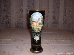 Zománc-festett kristály váza