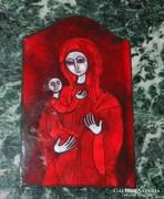 Petrilla István  tűzzománc kép - Szűz Mária Jézussal / Anya