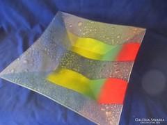 Buborékos üveg tál kínáló A058