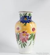 Nagyon régi Hollóházi váza kézzel festett virágos