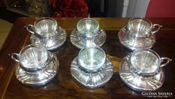 Ezüst 6 darabos kávéskészlet