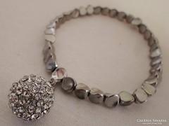 Csodaszép régi ezüstözött kristálygömbös karkötő