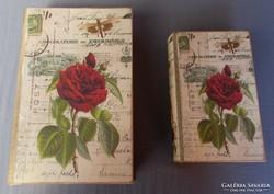 Vintage, ! Rózsás! Díszdoboz, könyvtartó! 2db!
