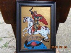 Sárkányölő Szent György-üveg ikon-fa keretben-36x27 cm