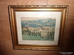 Zöldellő tájkép dombokkal, falucskával régi akvarell, jelz.