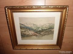 Látkép magas hegyekkel, régi akvarell, ismeretlen