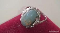 Antik ezüst gyűrű achát kővel