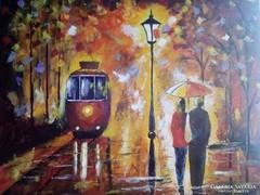 Séta az esőben c. festmény , tájkép