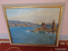 Olaj vászon festmény: Kikötő és látkép (restaurált)