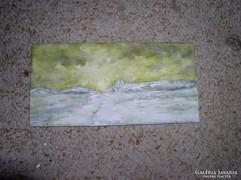Téli tájkép, mini olajfestmény farostképeslap.10 x 21 cm LJ