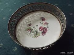 Antik porcelán fajansz betétes szépséges tálca 24,5 cm