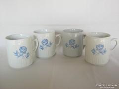 Zsolnay porcelán kék rózsás szoknyás bögre 4 db