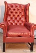 Gyönyörű chesterfield füles bőr fotel!