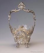 Ezüst barokk stílusú üveges kínáló