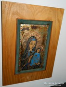 Fabulous beaded picture envelope enamel: madonna with child