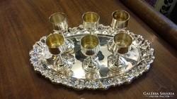 Ezüst 6 személyes likőrös készlet