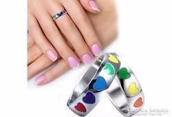Gyűrű színes szívekkel 6-os ÚJ!