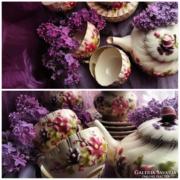 Antik Zsolnay családi pecsétes  teás készlet kidomborodó virágokkal. TJM jelzéssel