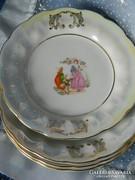 Régi lüsztermázas, jelenetes porcelán süteményes tányér 4 db