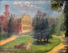 0L222 Mokossiny Kató : Kastélykert kutyákkal 1930