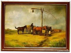 83 x 112 cm,Schunder: Itatás a gémeskútnál,olaj-vászon