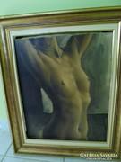 Gyönyörű olaj-vászon szignált akt festmény keretben