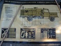 Csepel teherautó tabló sor katonai régi VV kocsi