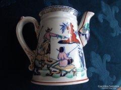 Sarreguemines-majolika-antik kézzel festett kiöntő-