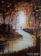 Esőben c.festmény, tájkép