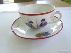 Régi filigrán porcelán kínai kávés csésze+alj
