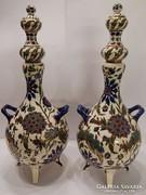 Álomszép antik nagyméretű Zsolnay dísz váza párban