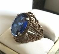 Antik filigrán kék Zafír köves ezüst 875 gyűrű